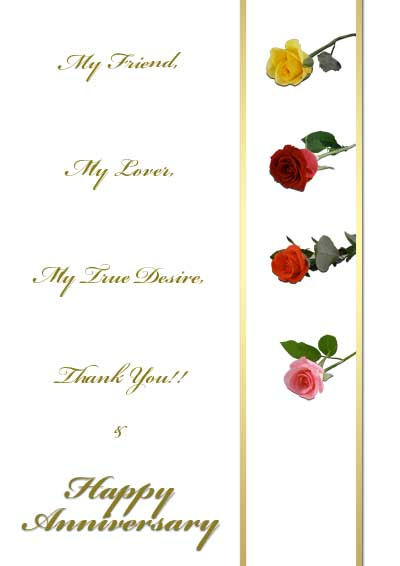 picture regarding Printable Anniversary Cards Free called No cost Printable Roses Anniversary Playing cards