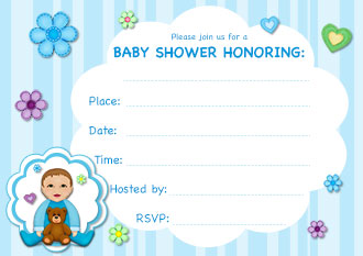 light blue baby shower invitation with a baby boy and teddy bear on it