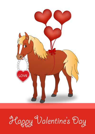 Printable Valentine Cards for Kids – Horse Valentines Day Cards