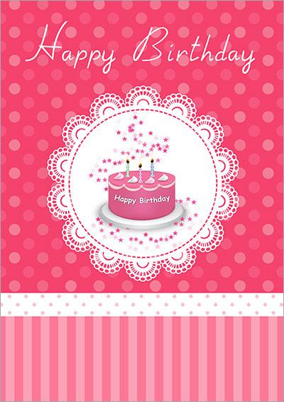 Pink Birthday Cake Card 015