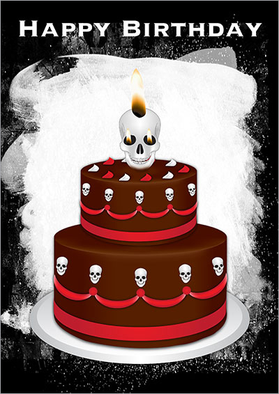 Gothic Birthday Cake Card 004
