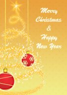 Golden Christmas Ornaments Card 008
