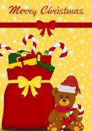 Teddy & Presents Christmas Card 011