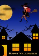 Halloween Witch Night Card 003