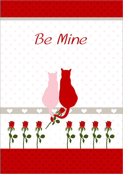 Be Mine Love Cats Card 011