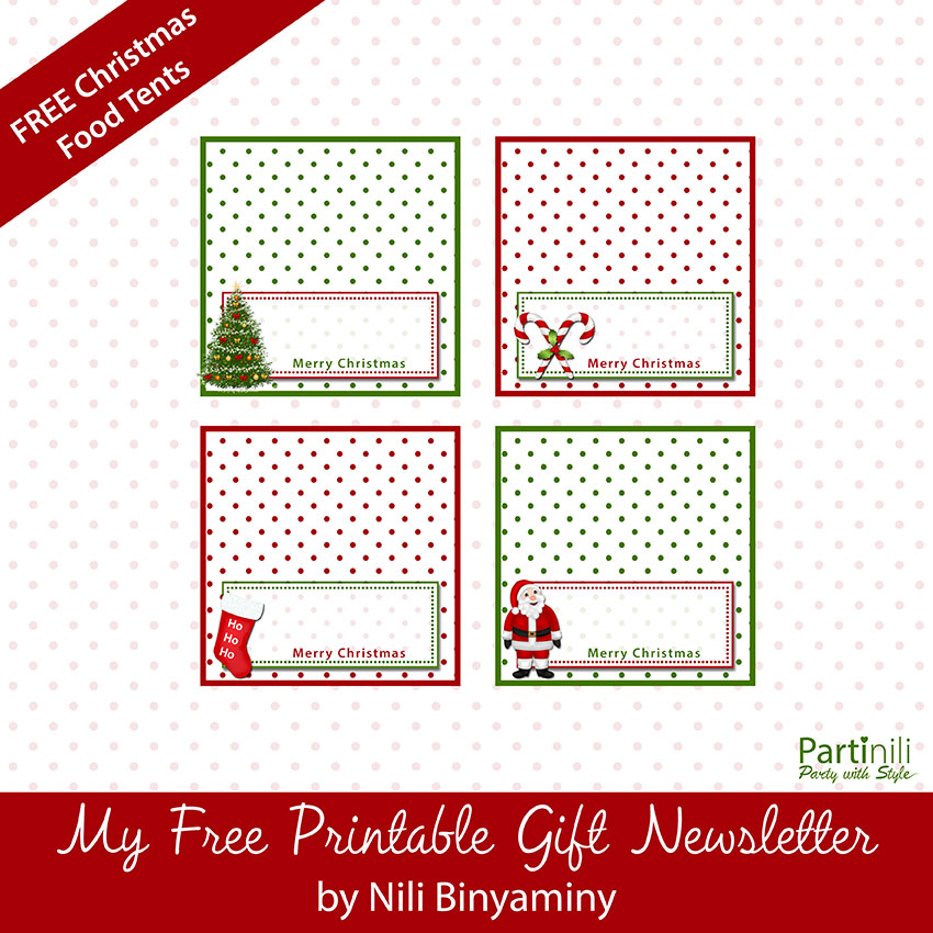 Printable Christmas Place Cards / Food Tents