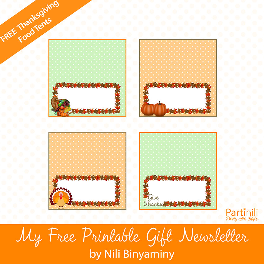 Printable Thanksgiving Place Cards / Food Tents