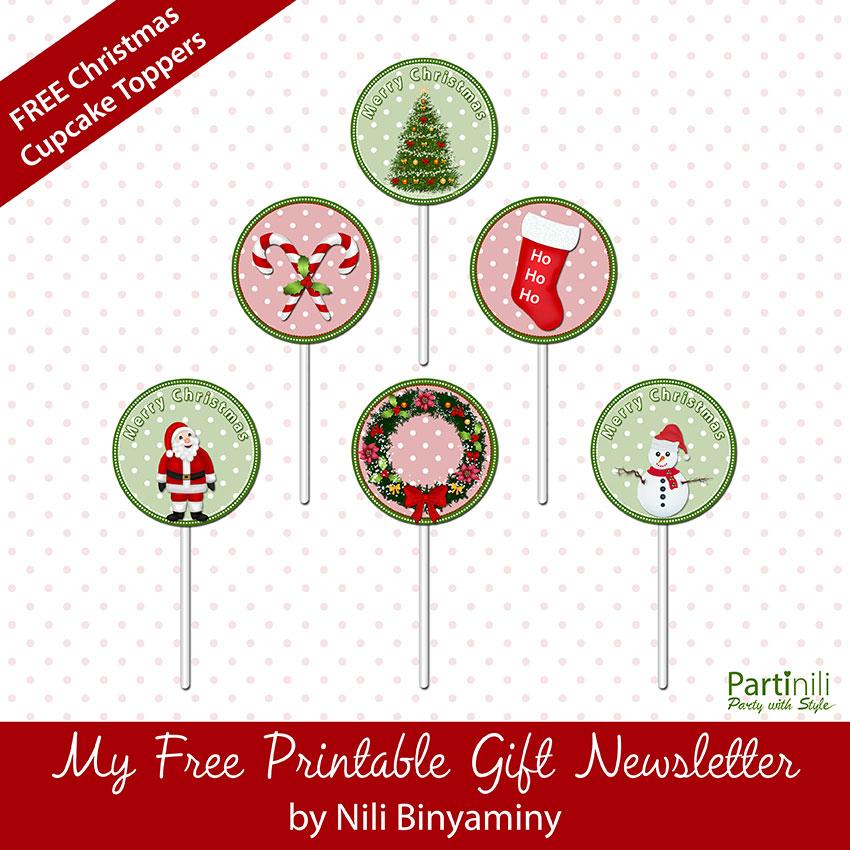 printable christmas cupcake toppers - Free Printables For Christmas