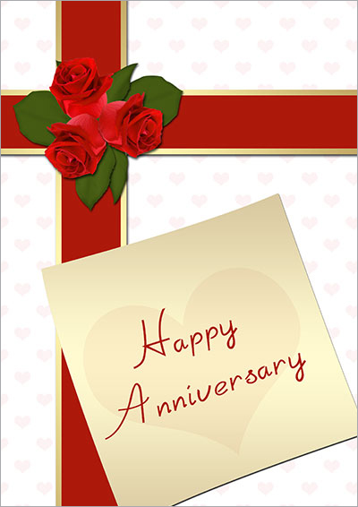 Printable Roses And Bows Card 001 Printable Roses And Bows Card  Printable Anniversary Cards For Husband