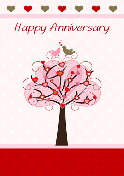 Good Anniversary Love Tree Card 003 To Free Printable Anniversary Cards