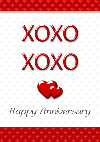 XOXO Happy Anniversary Card 004 XOXO Happy Anniversary Card  Printable Anniversary Cards For Husband