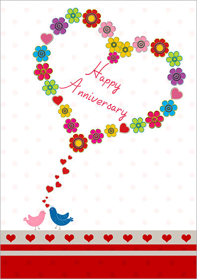 Sweet Lovebirds Anniversary Card 005 Sweet Lovebirds Anniversary Card  Print Anniversary Card