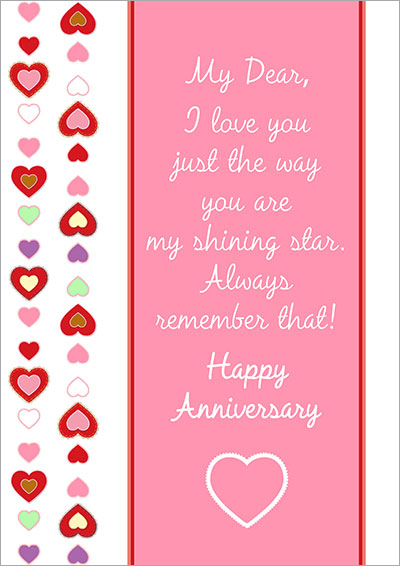Wonderful Anniversary Card With A Wish Regarding Printable Anniversary Cards For Husband