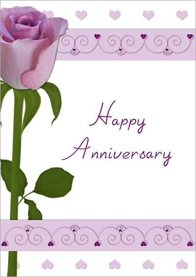 Purple Rose Anniversary Card 008 Purple Rose Anniversary Card  Print Anniversary Card