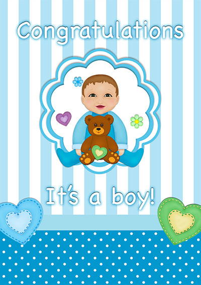 It's A Baby Boy!! Printable Card 001