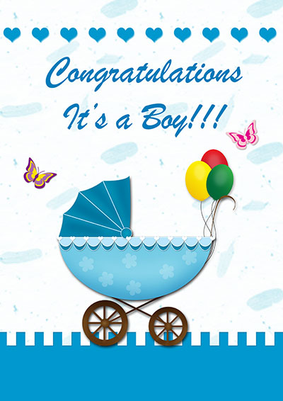 Balloons Baby Boy Printable Card 003