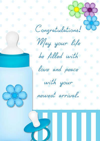 new baby boy card with a wish 004 new baby boy card with a wish - New Born Baby Card