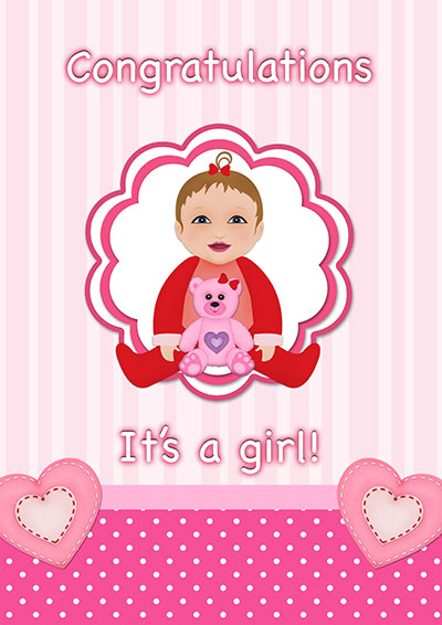 It's A Baby Girl!! Printable Card 001