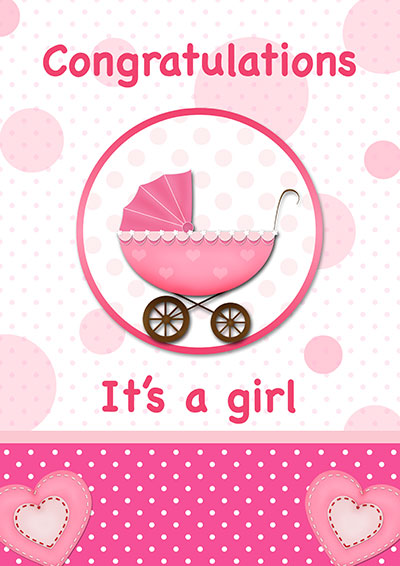 Congrats It's A Baby Girl Card 002