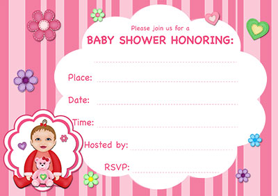 Pink Stripes Baby Shower Invite 001