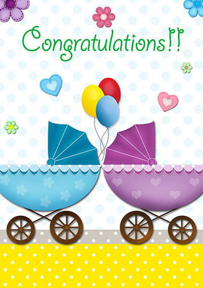 Baby Twins Congrats  Card 002