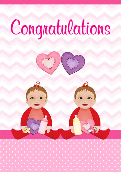 Baby Girl Twins Congrats Card 004