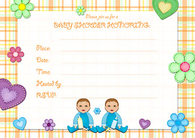 Baby Boy Twins Invitation 001