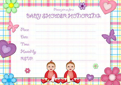 Baby Girl Twins Invitation 002