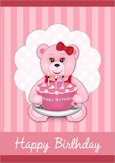 Pink Teddy & Cake Birthday 006