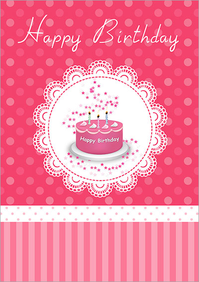 Pink Birthday Cake Card 015