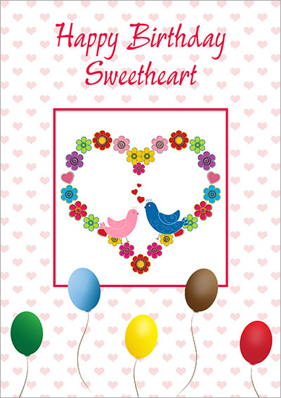 Love Birds Birthday Heart 018