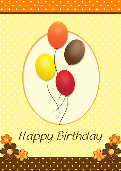 Flying Balloons Birthday  Card 038