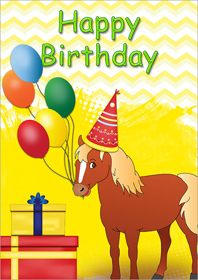 Horse Birthday Party Card 001 Download