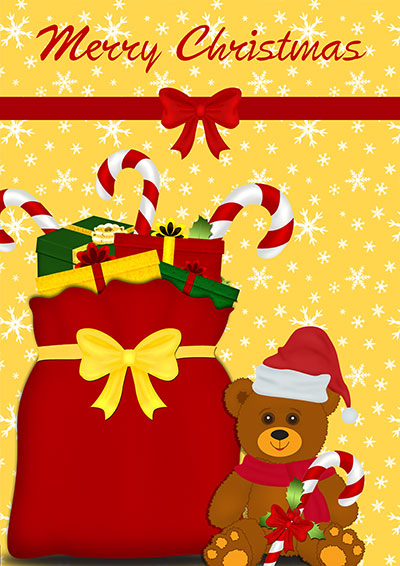 Teddy & Presents Christmas Card 011