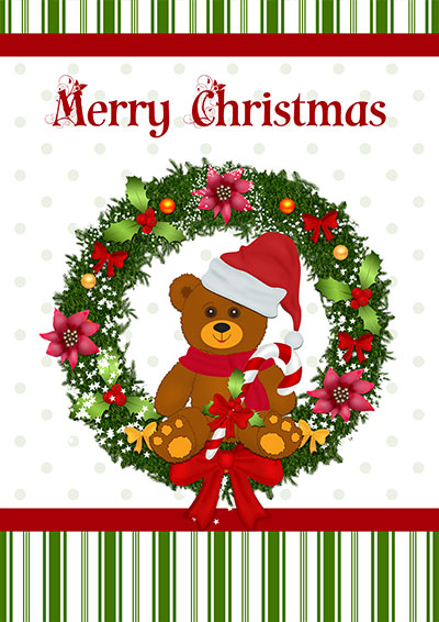 Merry Christmas Teddy Wreath 012