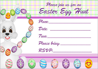 Bunny Juggle Egg Hunt Invitation 005