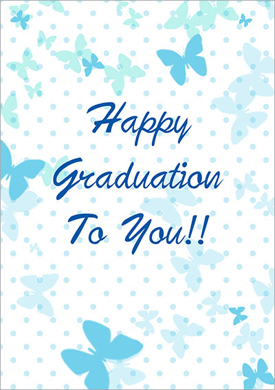 Blue butterflies graduation card 005