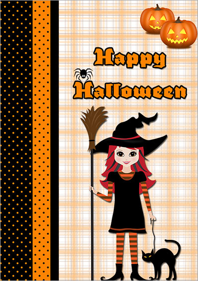 Halloween Witches & Cats Card 004