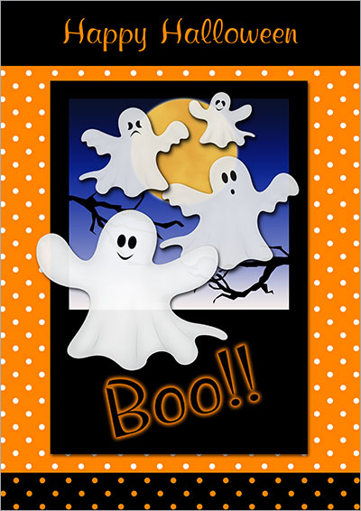 Halloween Ghosts Printable Card 005