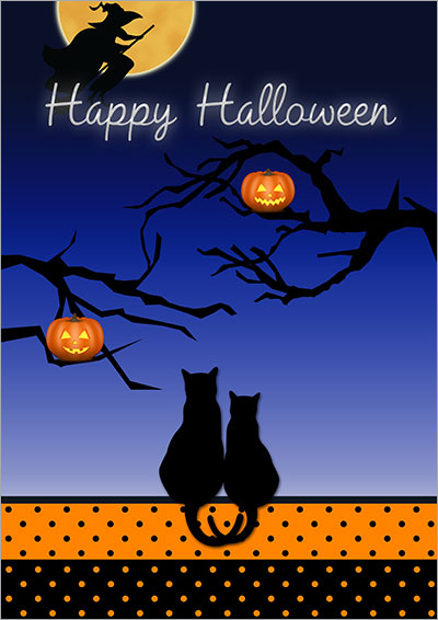 Halloween Love Cats Greeting Card 011