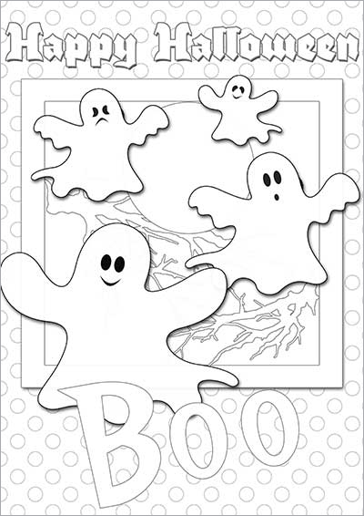 Halloween Ghosts Color Card 005