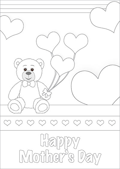 Hearts Teddy Bear Color Card 007