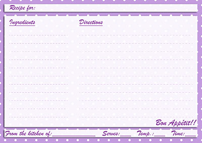 Purple polka-dots recipe card