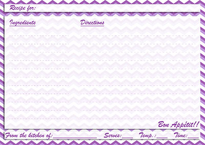 Purple chevron recipe card