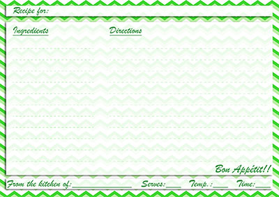 Green chevron recipe card