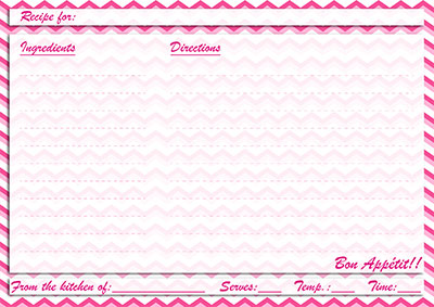 Pink chevron recipe card