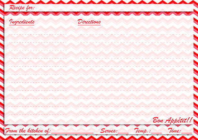 Red chevron recipe card