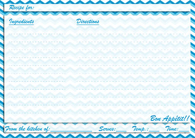 Blue chevron recipe card
