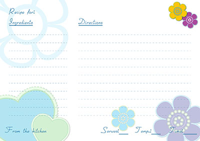 Blue flowers & hearts recipe Card