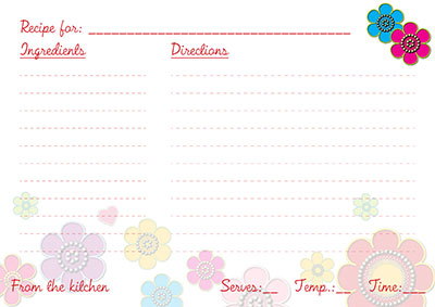 Colorful flowers recipe cards